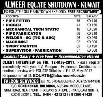 AlMeer Equate Shutdown Jobs for Kuwait - Free food