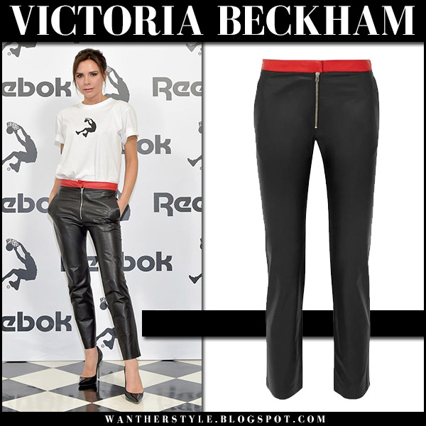 Victoria Beckham in white t-shirt, black leather skinny pants and pumps chic outfit april 12