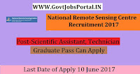 National Remote Sensing Centre Recruitment 2017– 74 Scientific Assistant, Technician