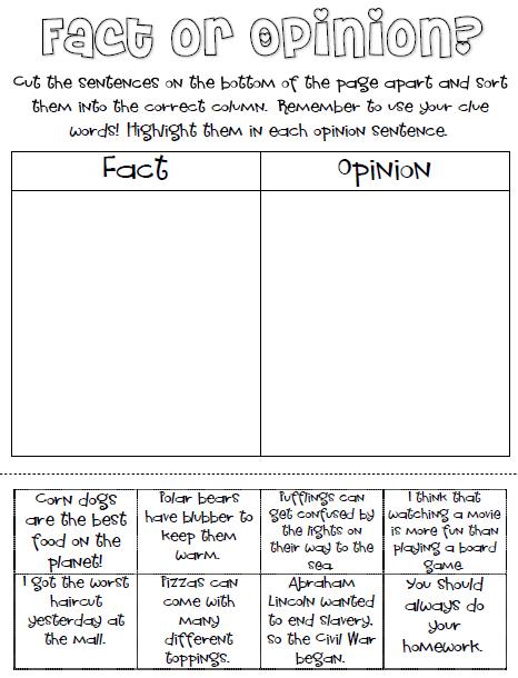 Fact or Opinion Freebie! - Classroom Freebies