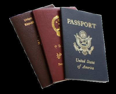 fotografias de pasaporte rojo, azul y color vino