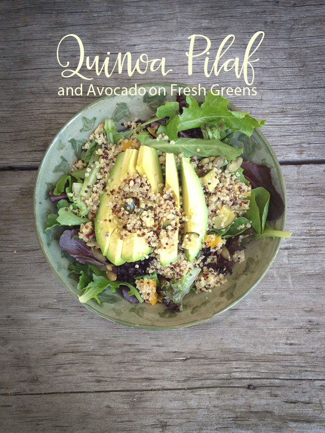 Quinoa Pilaf and Avocado on Fresh Greens, Gluten Free Eating