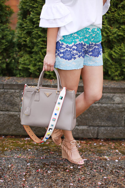 Summer Outfit Ideas: Lace shorts and Prada Bag