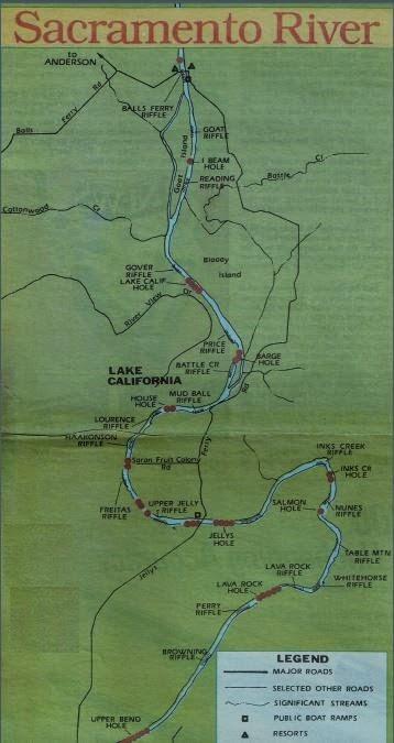 2016 sacramento river salmon fishing map and fishing for Salmon fishing sacramento river