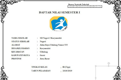 Download Buku Nilai K-13 SD Kelas 3 Semester 1