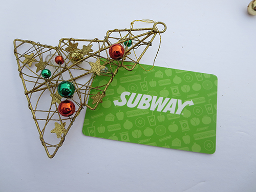 Great Christmas Idea: Subway giftcard ~ #Giveaway