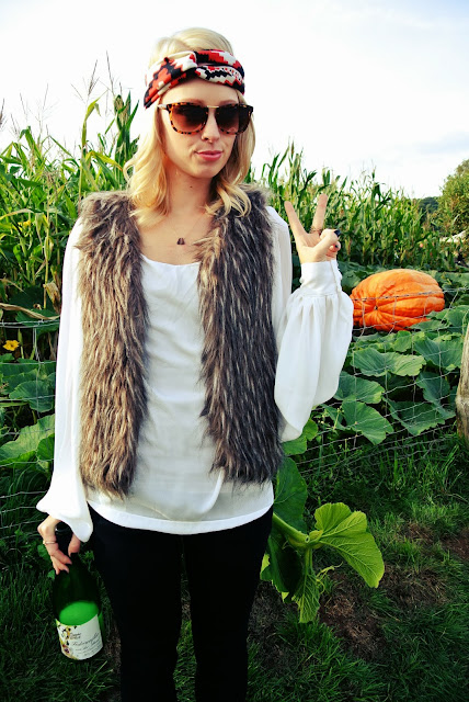 Target faux fur vest, Sammy Dress puffy sleeved blouse, Charming Damsel Aztec print turban headband, Mildred & Bernice handmade necklace, Charlotte Russe jeans, Charlotte Russe sueded ankle boots, Firmoo sunglasses, Germany,autumn, pumpkin festival, style blogger