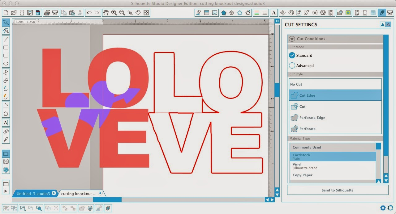 Silhouette tutorial, Silhouette Studio, HTV, vinyl, paper, knockout design, cut lines
