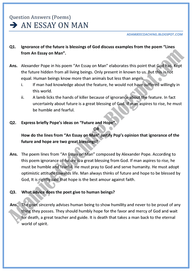 adamjee coaching english xii an essay on man question  english xii an essay on man question answers poems