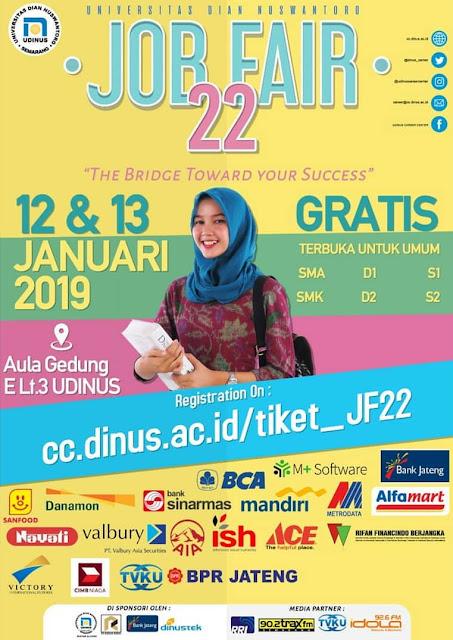 Jadwal Job Fair 22 UDINUS Semarang – Januari 2019
