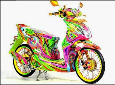 Modifikasi Honda Beat Full Airbrush New