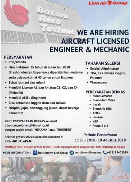 Lowongan Kerja Terbaru Batam Aero Technic Lion Air Group