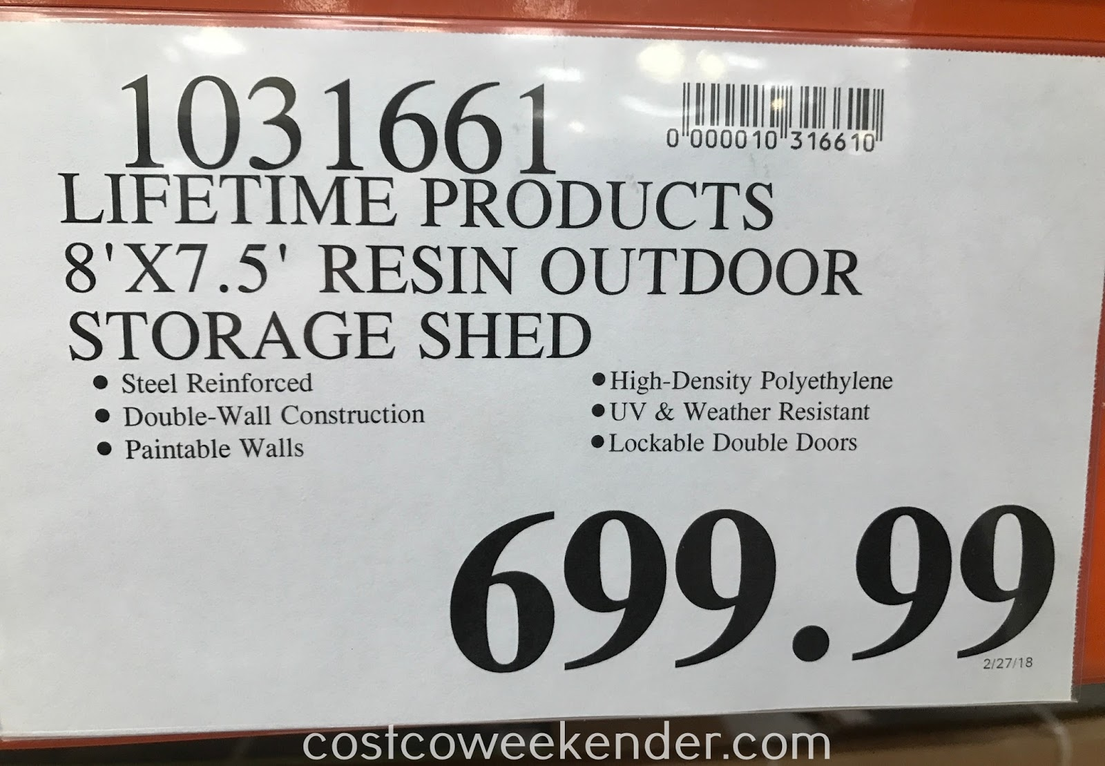 Deal for the Lifetime Products Resin Outdoor Storage Shed at Costco
