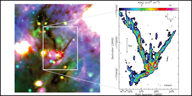 Left: three colour composite image of SDC13 where red, green and blue bands correspond to 70μm HIGAL (Molinari et al. 2010), 24μm Spitzer MIPSGAL (Carey et al. 2009) and 8μm Spitzer GLIMPSE (Churchwell et al. 2009) maps respectively. The four dark, filamentary arms are clearly visible. Right: Brand new, high resolution map of SDC13 tracing the internal dense Ammonia gas revealing cores dotted along all the filaments. Credit: G. Williams et al. / University of Cardiff