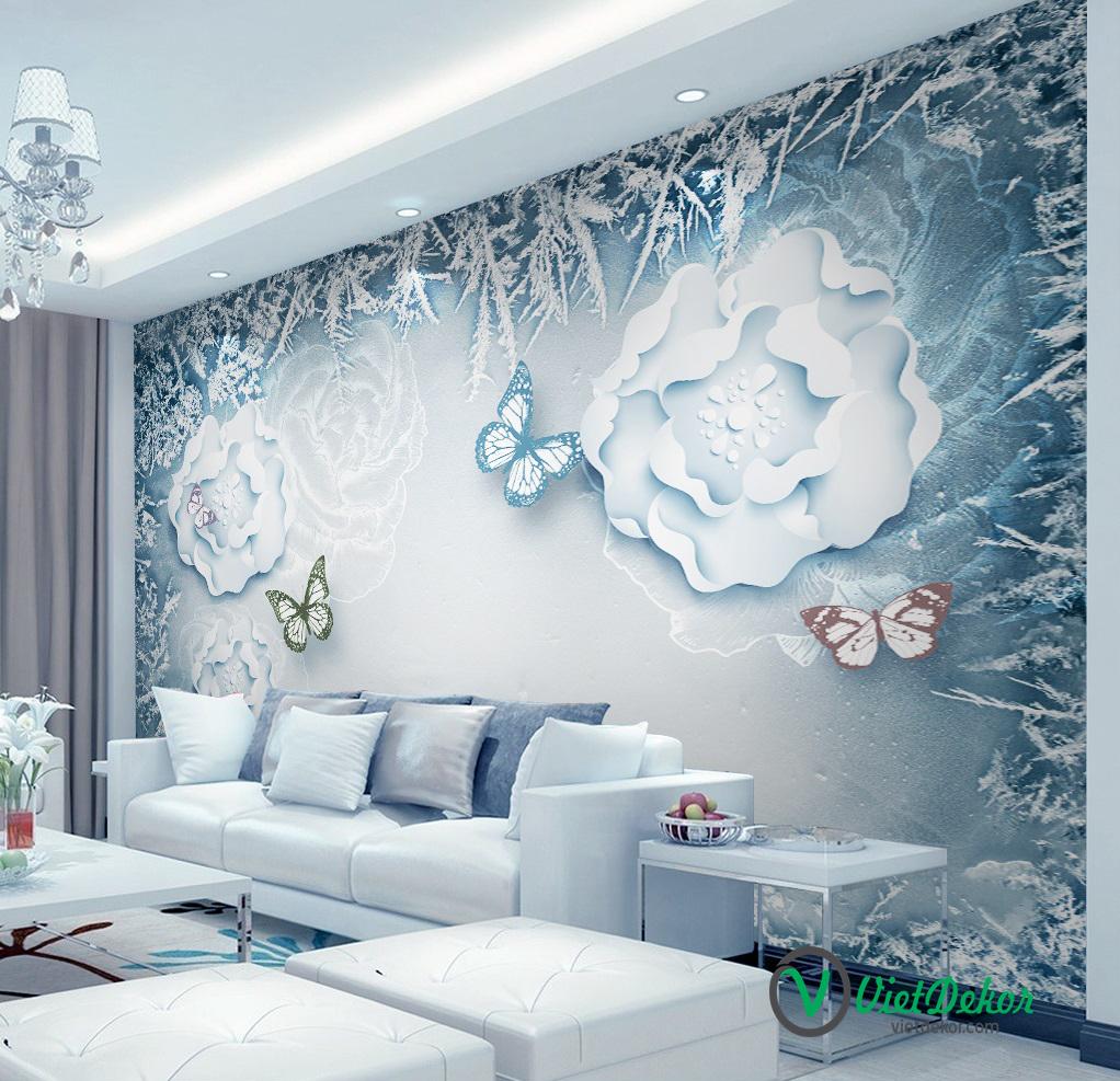 Tranh dán tường 3d hoa mẫu đơn bướm lượn