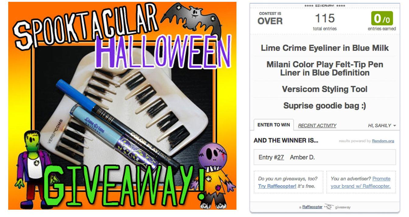 Attention: Halloween Giveaway WINNER announcement