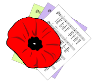 Poppy image over green, purple and white hymn sheets.