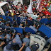 Police van rams protesters, disperses rally at US embassy