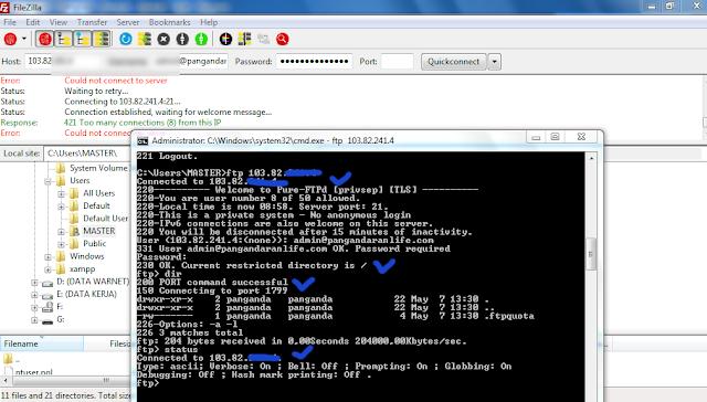 Masalah FileZilla Tidak  Dapat Koneksi Ke Server