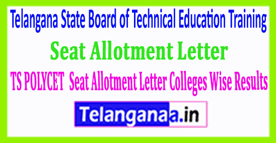 TS POLYCET 2019 Seat Allotment Letter Download Colleges Wise Results