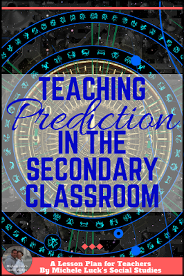 Lesson ideas and tips for teaching students to look toward the future and in making predictions in the secondary Social Studies classroom. #teacher #socialstudies