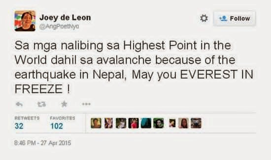 Joey de Leon tweet Nepal Mt. Everest earthquake