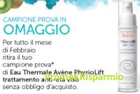 Logo Campione omaggio Eau Thermale Avène PhysioLift trattamento anti età viso