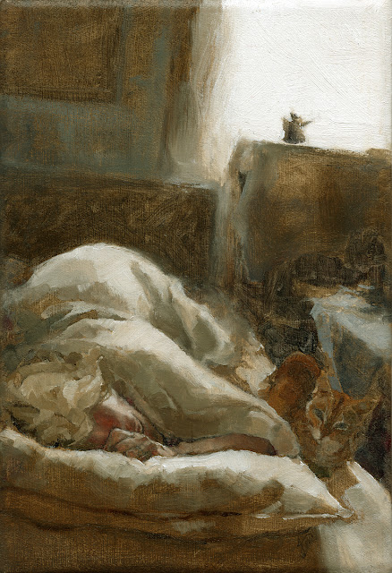 Impressionistic Bedroom Interior Oil painting with Woman and Cat
