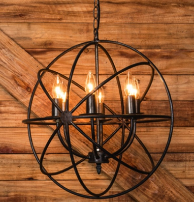 black metal sphere chandelier