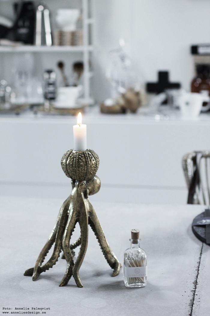 bläckfisk, ljusstake, ljusstakar, inredning, butik, varberg, annelies design, eldstickan