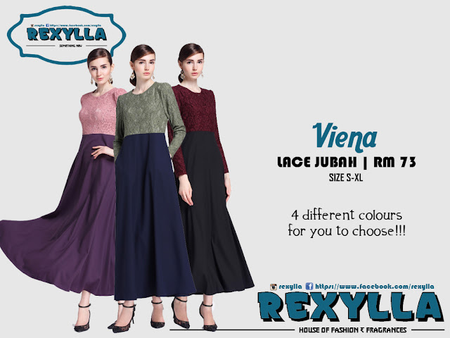 rexylla, lace jubah, viena collection