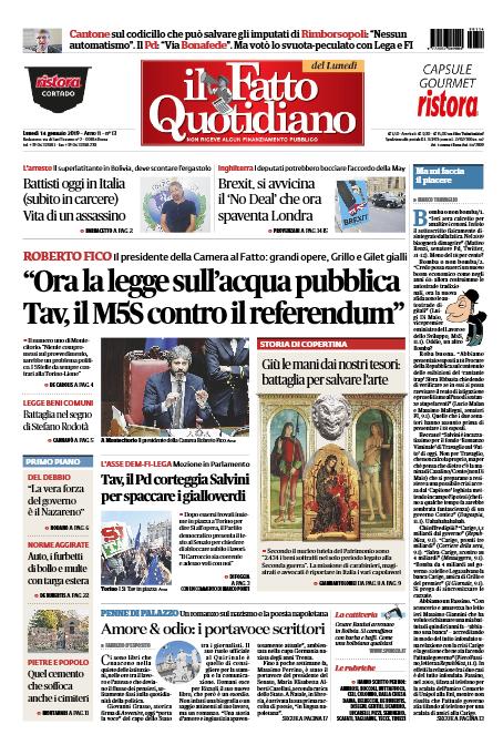 Roma News Prima Pagina Del Fatto Quotidiano