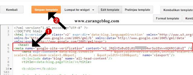 Pasang Kode Verifikasi Google Webmaster Tools di Bawah Kode <head>