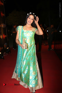 Actress Sanjjanaa Stills in Green Long Dress at Gemini TV Puraskaralu 2016 Event  0070.JPG
