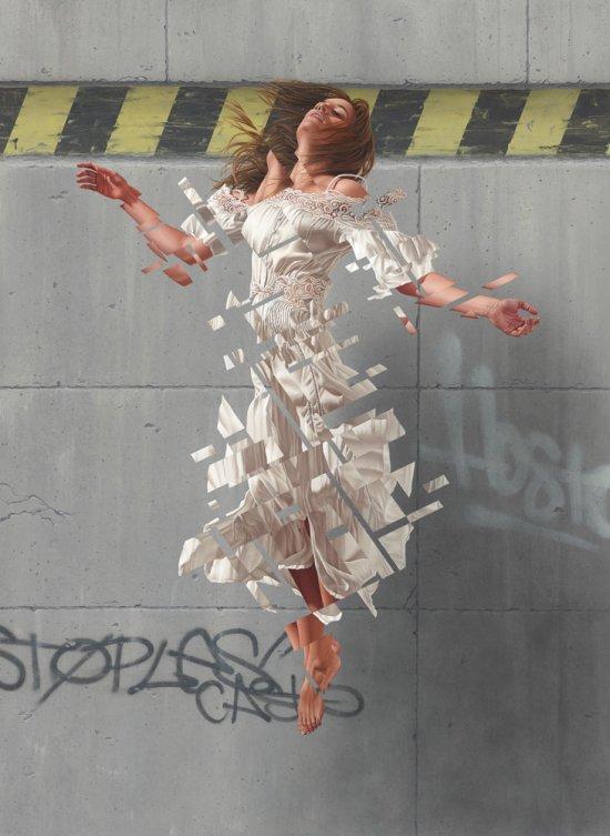 James Bullough arte pinturas murais mulheres glitches foto realistas beleza