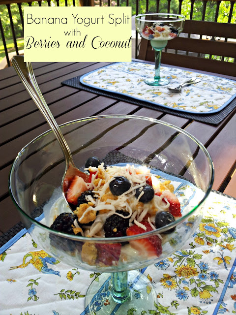 Healthy Dessert for Summer: Banana Yogurt Split with Berries and Coconut