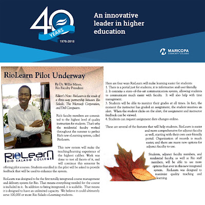 Snapshot of a 2004 Rio Salado newsletter with headline: RioLearn Pilot Underway.  Pictured is Dr. Willie Minor, Rio Salado's Faculty President in 2004.