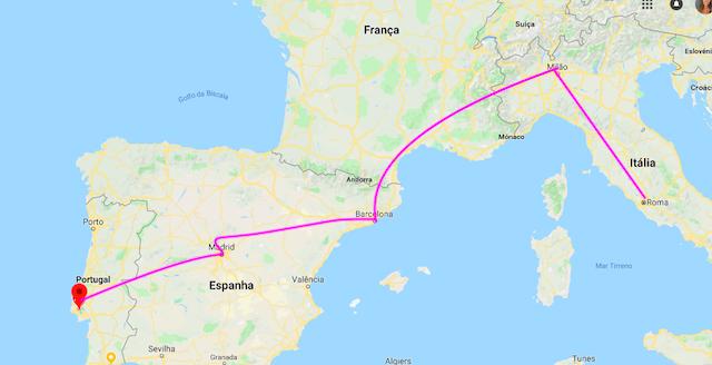 Mapa do trajeto de Lisboa a Roma