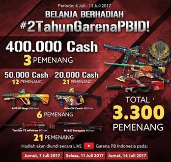 Promo PB Garena Belanja Hadiah Cash Gratis
