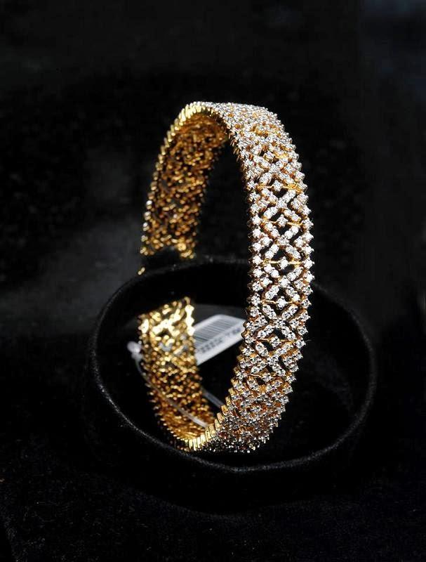 Indian Jewellery Designs: Diamond bangle models