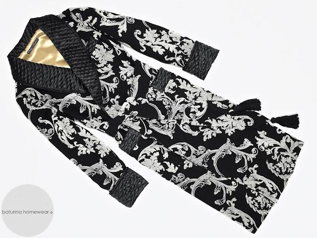 Men's black paisley robe quilted silk dressing gown luxury smoking jacket victorian gentleman
