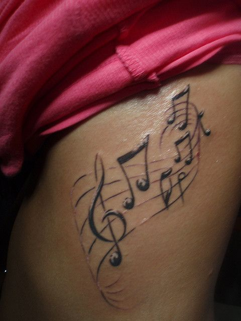 Beautiful Black & White Music Tattoos