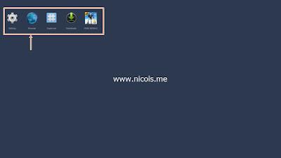Ikon setting dan aplikasi lain muncul setelah menekan tombol F9