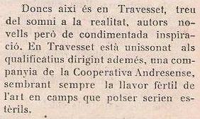 Extracto de la crónica sobre Antoni Travesset