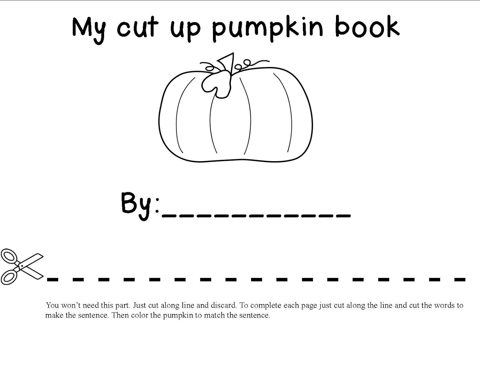 Mrs. Bohaty's Kindergarten Kingdom: Cut-up pumpkin book