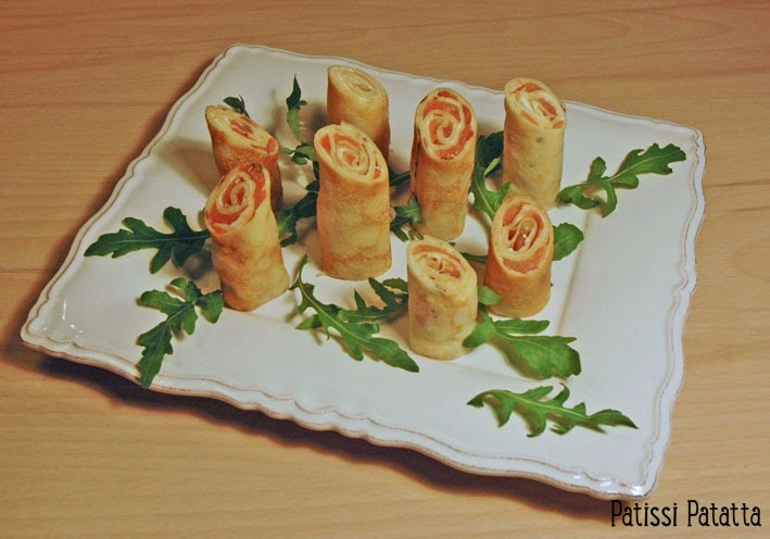 pancakes with smoked salmon, makis au saumon fumé, recette de crêpes au saumon fumé