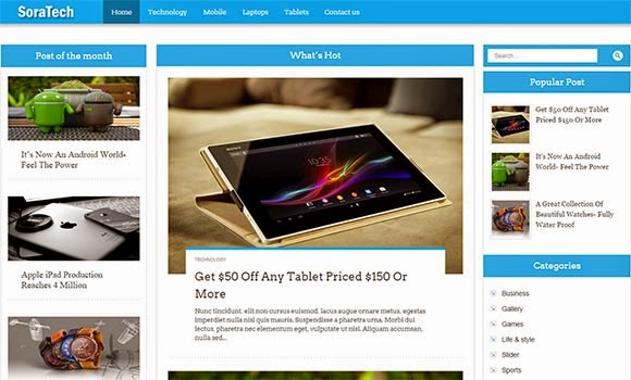 Sora Tech Blogger Template