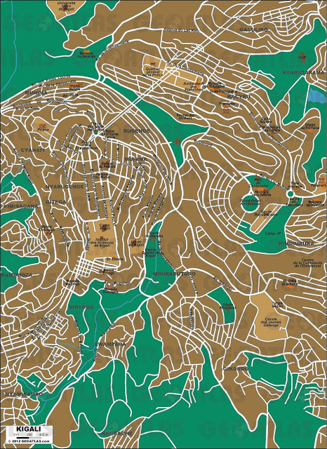 Mapa da cidade de Kigali - Ruanda