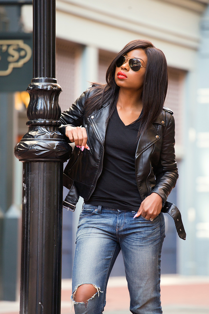 biker chic, leather jacket, casual look, sophia webster, www.jadore-fashion.com
