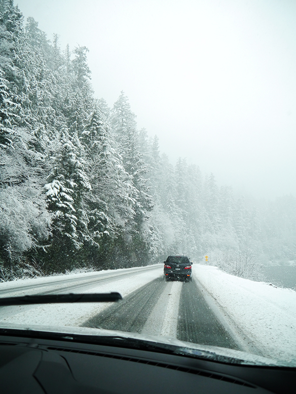 Wintry road conditions on the Pacific Rim Highway en route to Tofino, BC